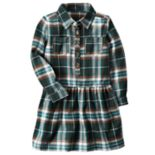 Girls 4-8 Carter's Green Plaid Drop-Waist Dress