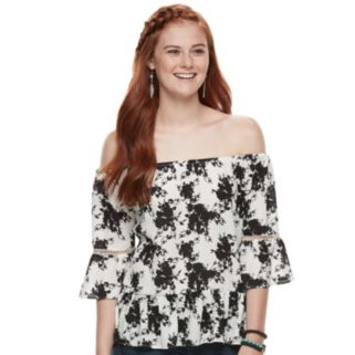 Juniors' Liberty Love Floral Off-the-Shoulder Bell Sleeve Top
