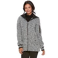 madden NYC Juniors' Hooded Fleece Bomber Jacket