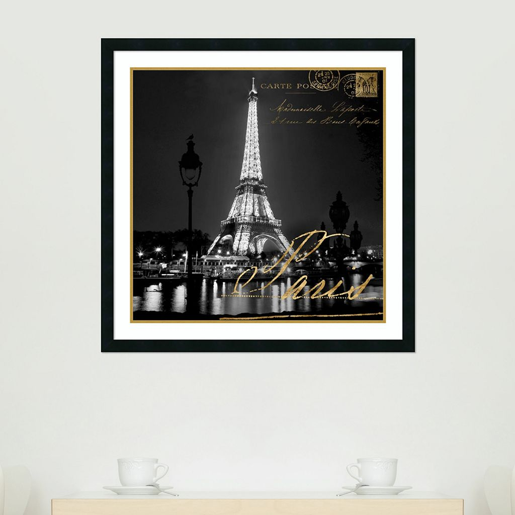 Amanti Art Paris At Night Eiffel Tower Framed Wall Art