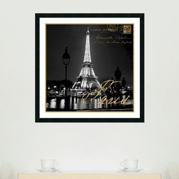 Amanti Art Paris At Night Eiffel Tower Framed Wall Art