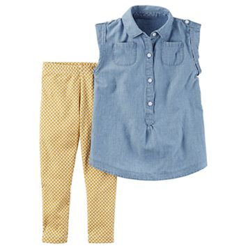 Toddler Girl Carter's Chambray Button-Front Tunic & Mustard Printed Leggings Set