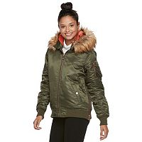madden NYC Juniors' Faux-Fur Hood Bomber Jacket