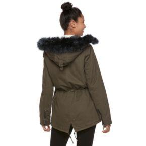 madden NYC Juniors' Faux-Fur Trim Anorak Jacket
