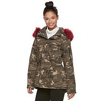 madden NYC Juniors' Faux-Fur Trim Anorak Jacket