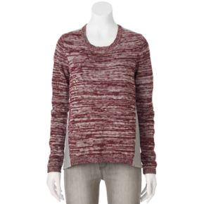 Juniors' Cloud Chaser Woven Back Scoopneck Sweater