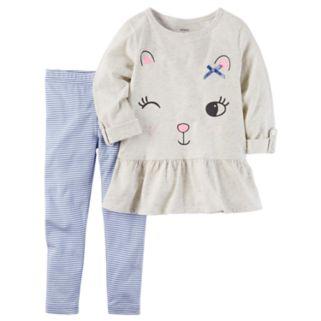Toddler Girl Carter's Winking Cat Peplum Tunic & Striped Leggings Set