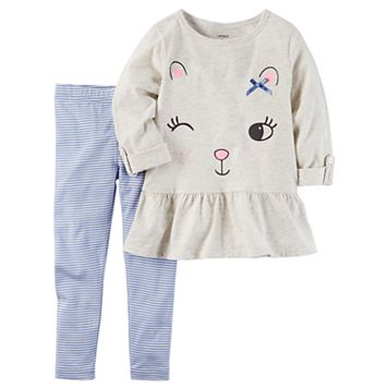 Toddler Girl Carter's Winking Cat Peplum Tunic & Striped Leggings Set