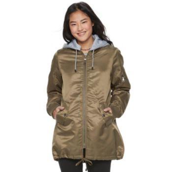 madden NYC Juniors' Detachable Hood Long Bomber Jacket
