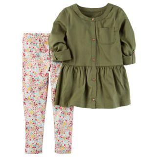 Toddler Girl Carter's Olive Peplum Tunic & Floral Leggings Set