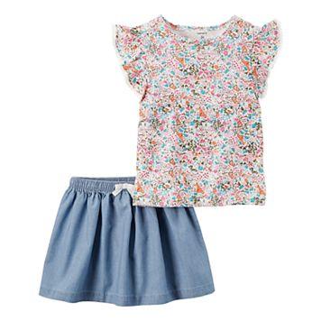 Toddler Girl Carter's Floral Flutter Sleeve Top & Chambray Skirt Set