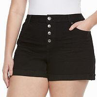 Juniors' Plus Size Mudd® High-Waist Midi Shorts