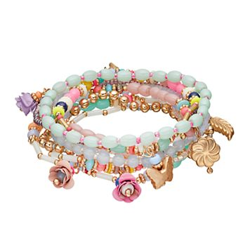 Mudd® Rosette, Butterfly & Leaf Charm Beaded Stretch Bracelet Set