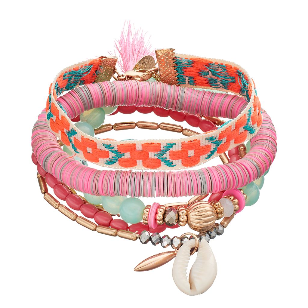 Mudd® Pink Bead, Disc, Shell & Embroidered Bracelet Set