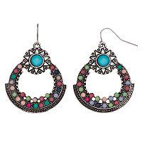 Mudd® Antiqued Starburst Nickel Free Drop Hoop Earrings