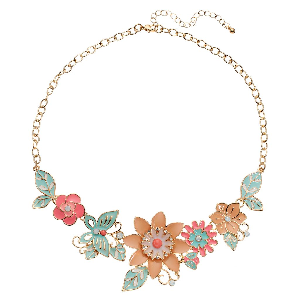 Mudd® Flower & Butterfly Statement Necklace