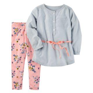 Toddler Girl Carter's Peplum Top & Floral Leggings Set