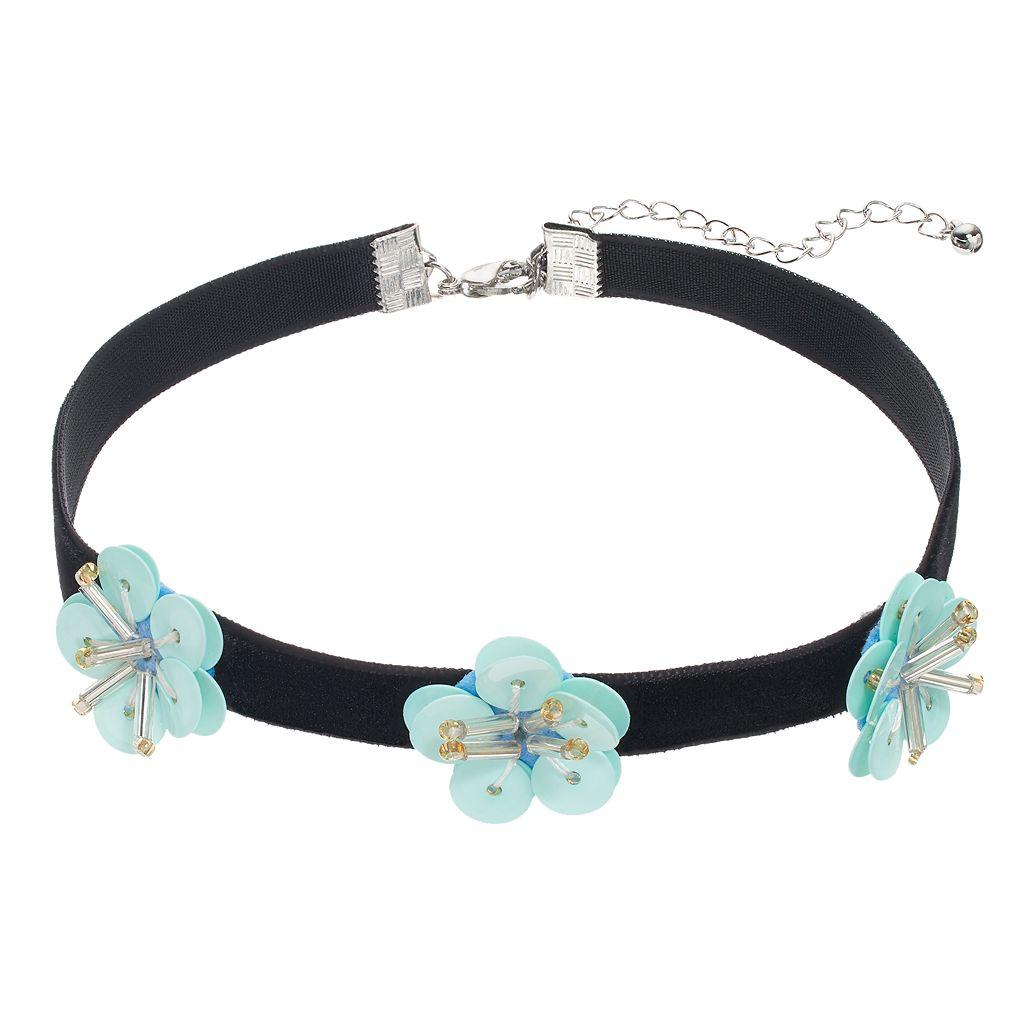 Mudd® Blue Flower Choker Necklace