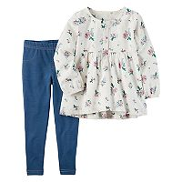Toddler Girl Carter's Floral Top & Faux-Denim Leggings Set
