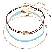 Mudd® Medallion, Beaded & Aqua Velvet Choker Necklace Set