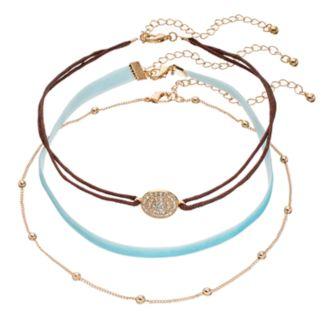 Mudd® Medallion, Beaded & Aqua Velvet Choker Necklace Set