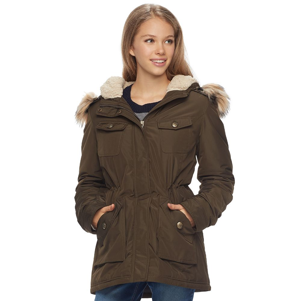 NYC Juniors' Faux-Fur Hood Anorak Jacket