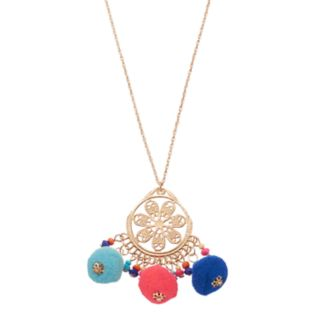 Mudd® Long Pom Pom Floral Medallion Necklace