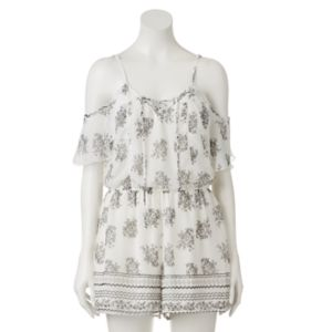 Juniors' Trixxi Print Cold-Shoulder Romper!