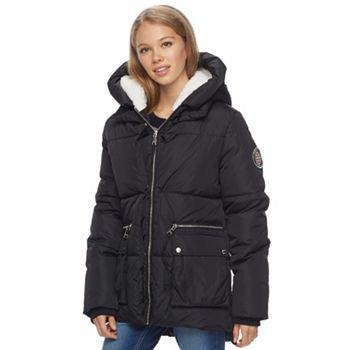 Madden NYC Juniors Fleece Hood Puffer Jacket