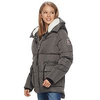madden NYC Juniors' Fleece Hood Puffer Jacket