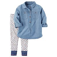 Toddler Girl Carter's Chambray Top & Patterned Leggings Set