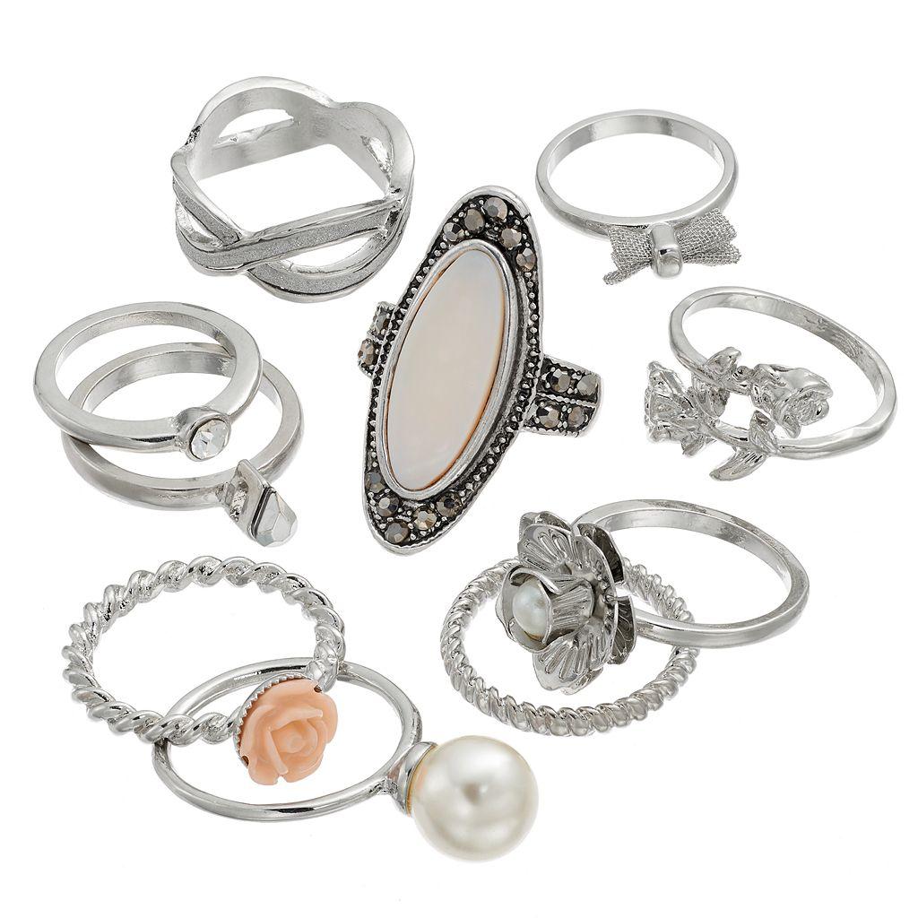 Mudd® Flower & Bow Ring Set