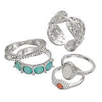 Mudd® Crisscross, Openwork & Round Stone Ring Set