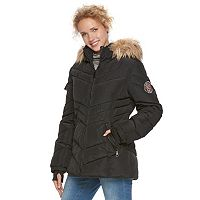 madden NYC Juniors' Faux-Fur Hood Quilted Puffer Jacket