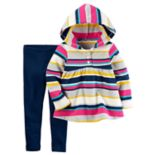 Toddler Girl Carter's Striped Hooded Top & Leggings Set