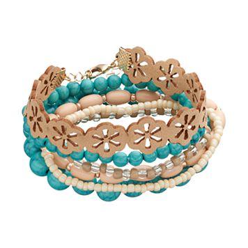 Mudd® Simulated Turquoise Beaded Stretch Bracelet Set