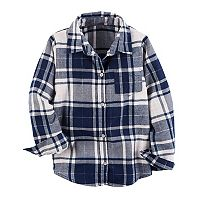 Girls 4-8 Carter's Metallic Plaid Button Front Shirt