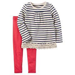 Toddler Girl Carter's Striped & Lace Tunic Top & Leggings Set
