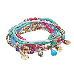 Mudd® Hammered Disc Beaded Stretch Bracelet Set
