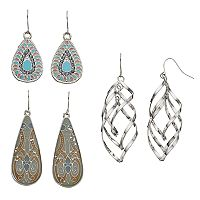 Mudd® Teardrop & Helix Nickel Free Drop Earring Set