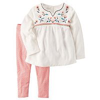 Toddler Girl Carter's Embroidered Woven Top & Tiny Flower Patterned Leggings Set