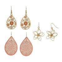 Mudd® Wire Flower & Openwork Nickel Free Teardrop Earring Set