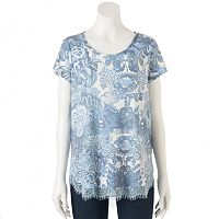 Women's LC Lauren Conrad Print Lace Trim Top