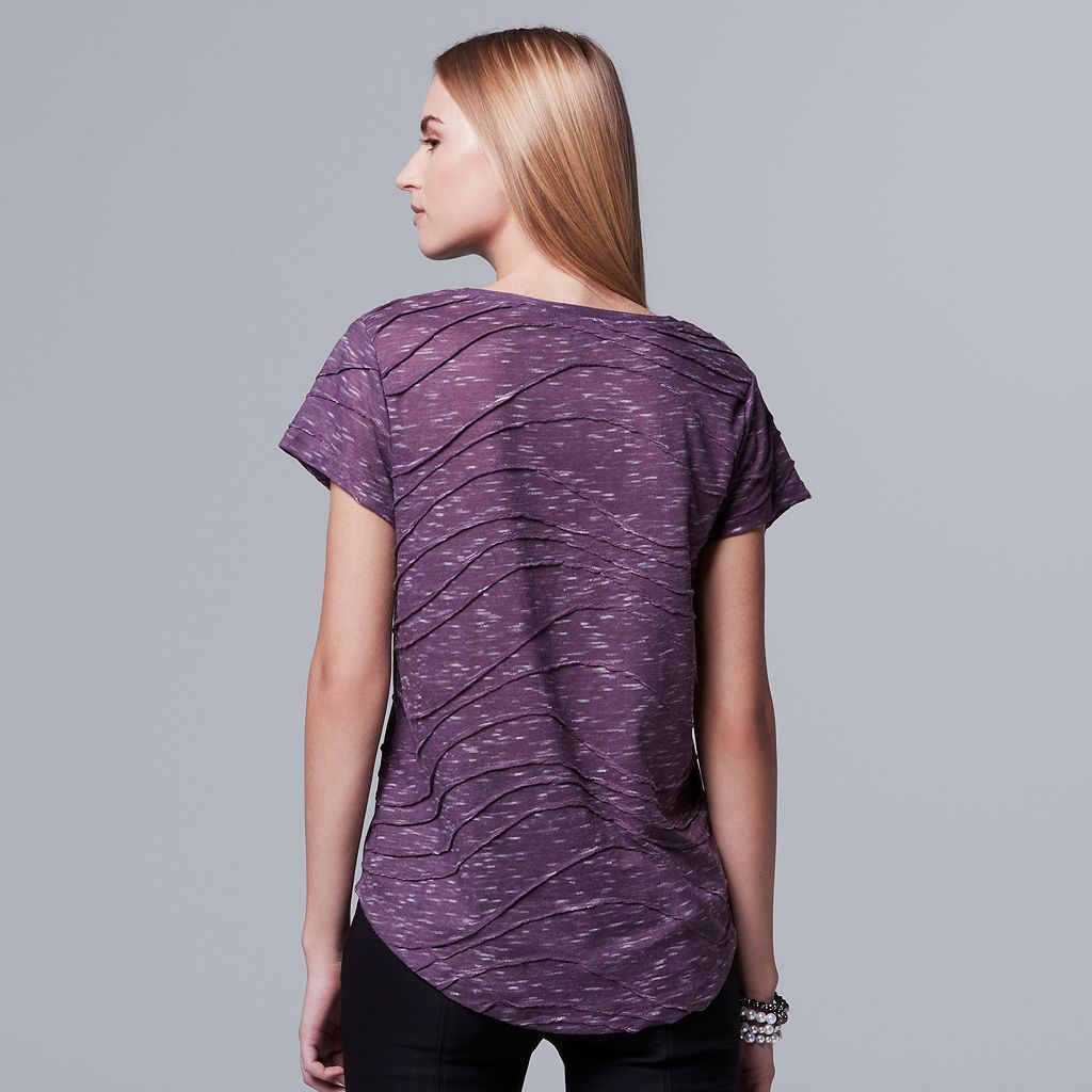 Women's Simply Vera Vera Wang Windy Space-Dye Jacquard Tee