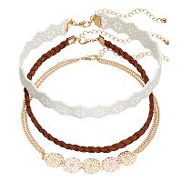 Mudd® Braided Faux Suede & Floral Choker Necklace Set