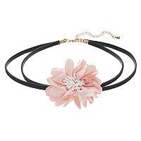 Mudd® Pink Chiffon Flower Choker Necklace