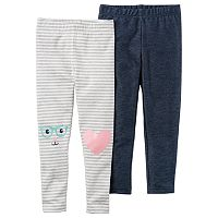 Girls 4-8 Carter's 2 pkKnee Graphics & Striped Leggings
