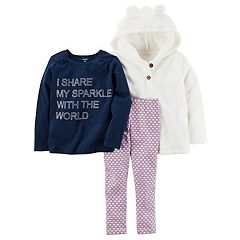 Toddler Carter's 'I Share My Sparkle With The World' 3 pc Hoodie & Leggings Set