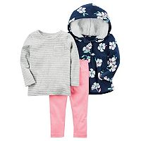 Toddler Carter's 3-pc. Floral Hoodie & Leggings Set