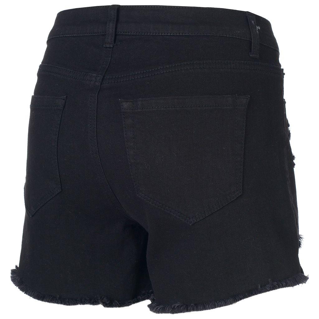 Juniors' Mudd® High Waisted Ripped Midi Shorts